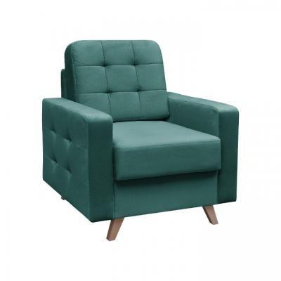 Szögletes fotel, steppelt, smaragdzöld - ALEX